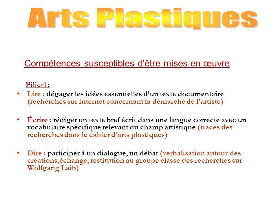 Arts Plastiques Compétences susceptibles d'être mises en œuvre