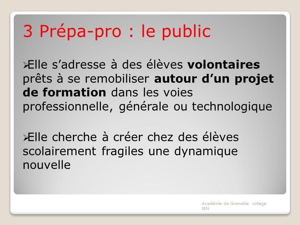 3 Prépa-pro : le public