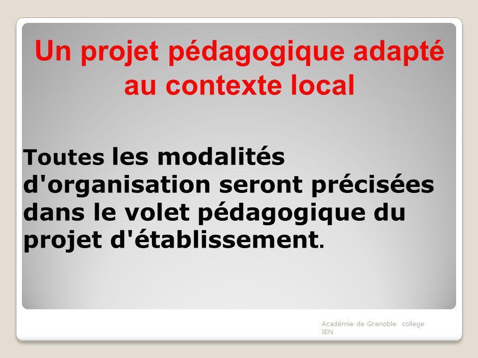 Un projet pédagogique adapté au contexte local