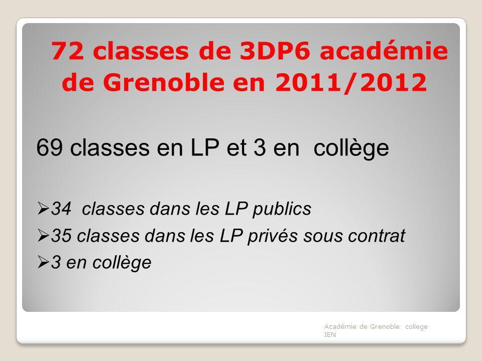 72 classes de 3DP6 académie de Grenoble en 2011/2012
