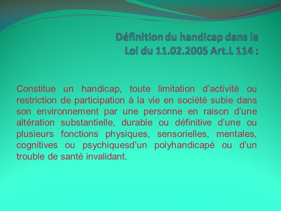 Définition du handicap dans la Loi du 11.02.2005 Art.L 114 :