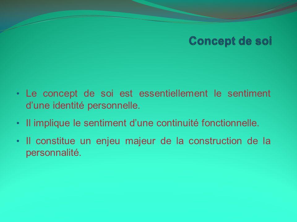Concept de soi Le concept de soi est essentiellement le sentiment d'une identité personnelle.