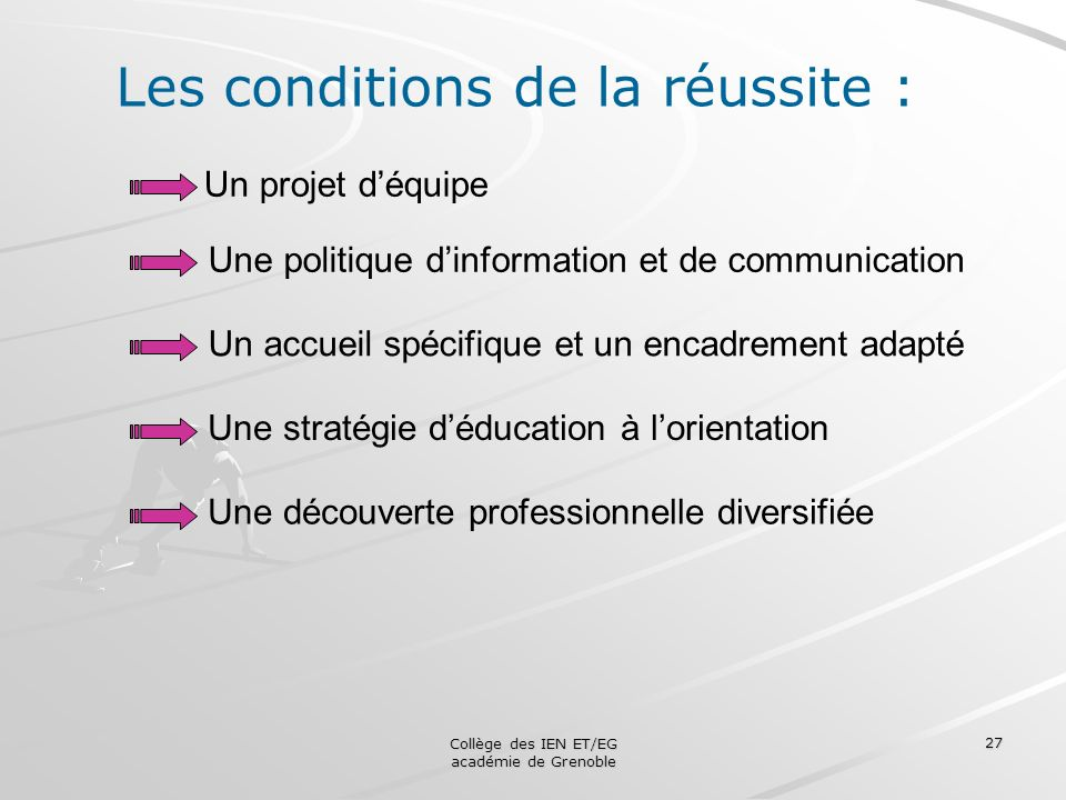 Les conditions de la réussite :