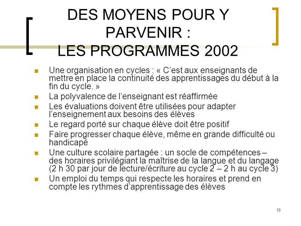 DES MOYENS POUR Y PARVENIR : LES PROGRAMMES 2002