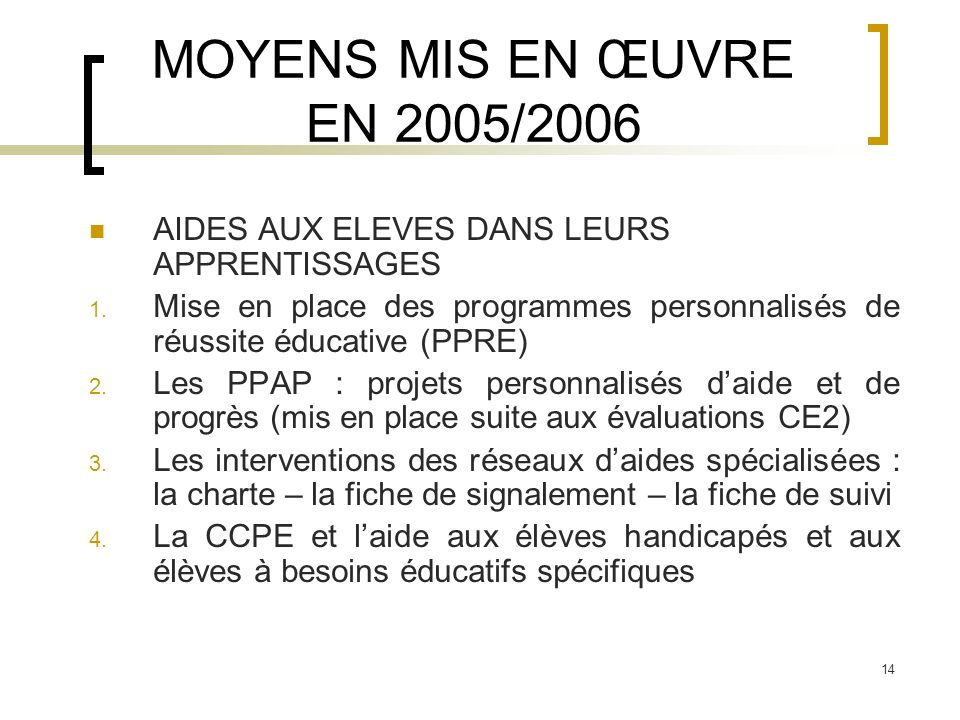 MOYENS MIS EN ŒUVRE EN 2005/2006 AIDES AUX ELEVES DANS LEURS APPRENTISSAGES. Mise en place des programmes personnalisés de réussite éducative (PPRE)