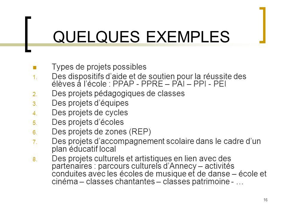QUELQUES EXEMPLES Types de projets possibles