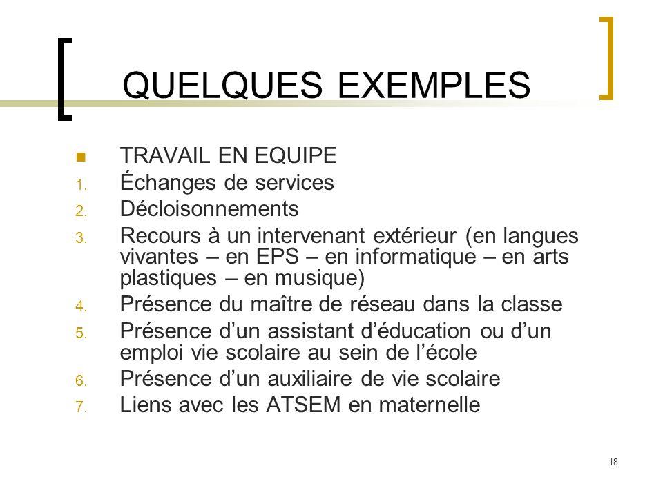 QUELQUES EXEMPLES TRAVAIL EN EQUIPE Échanges de services