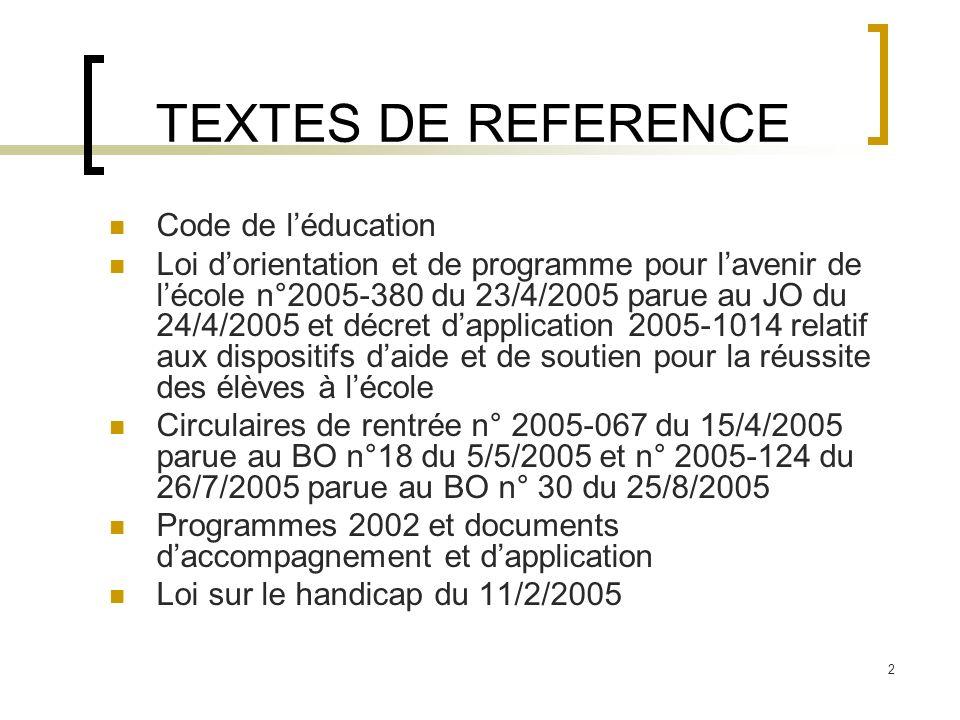 TEXTES DE REFERENCE Code de l'éducation