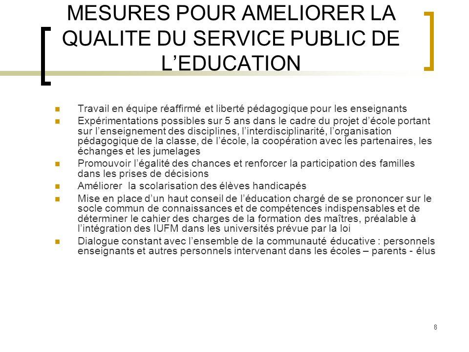 MESURES POUR AMELIORER LA QUALITE DU SERVICE PUBLIC DE L'EDUCATION
