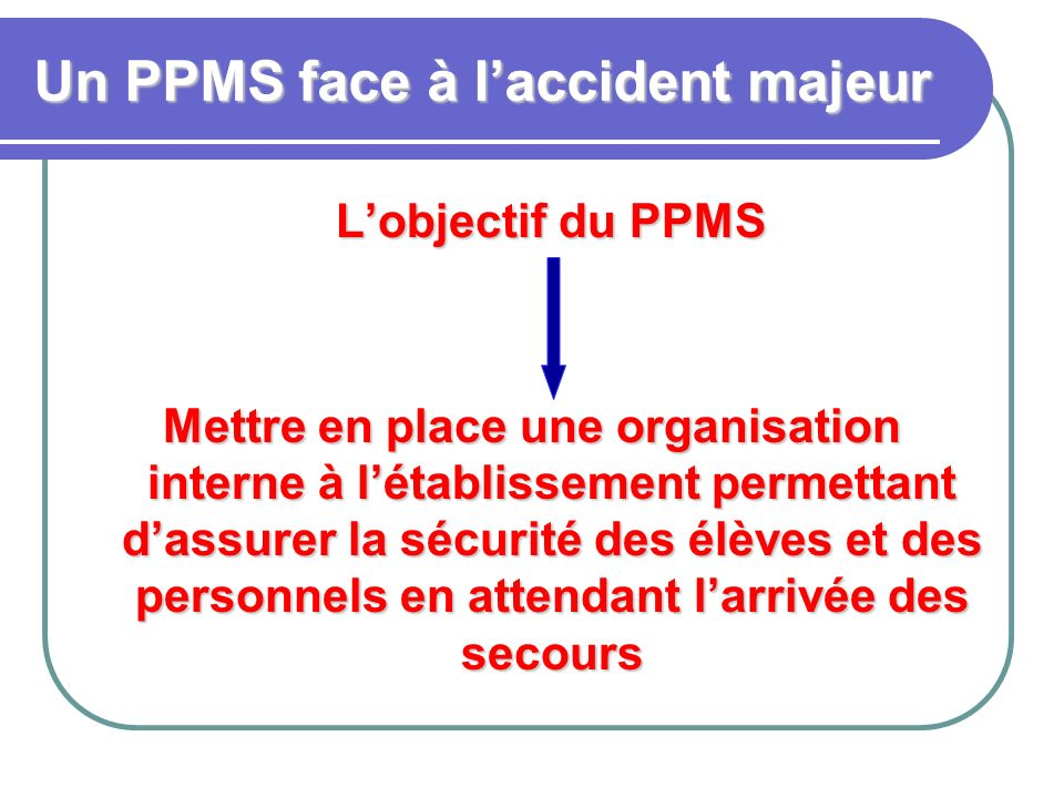 Un PPMS face à l'accident majeur