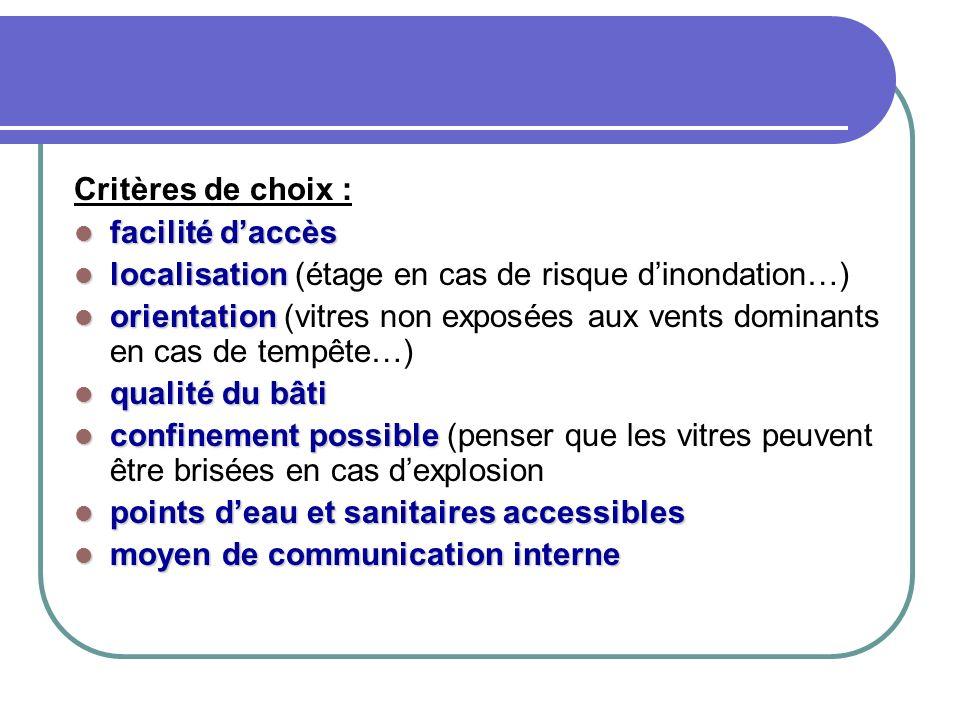 Critères de choix : facilité d'accès. localisation (étage en cas de risque d'inondation…)