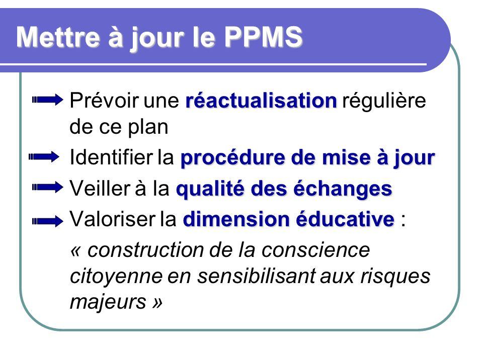 Mettre à jour le PPMS Prévoir une réactualisation régulière de ce plan