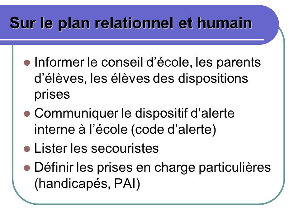 Sur le plan relationnel et humain
