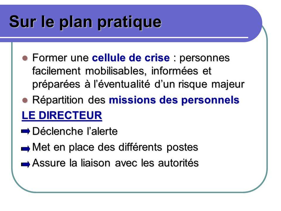 Sur le plan pratique Former une cellule de crise : personnes facilement mobilisables, informées et préparées à l'éventualité d'un risque majeur.
