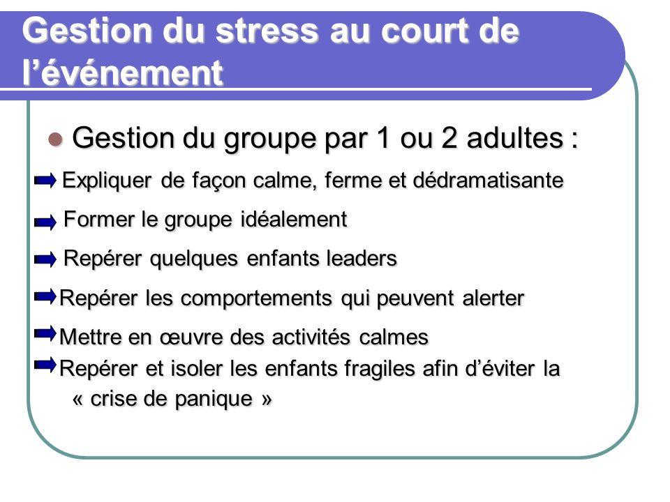 Gestion du stress au court de l'événement