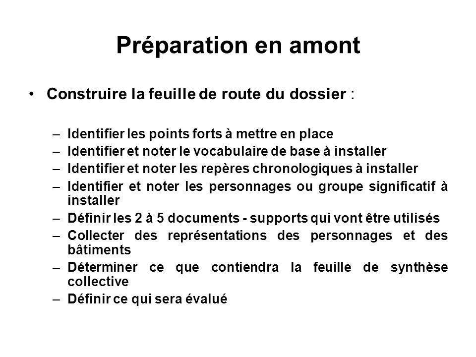 Préparation en amont Construire la feuille de route du dossier :