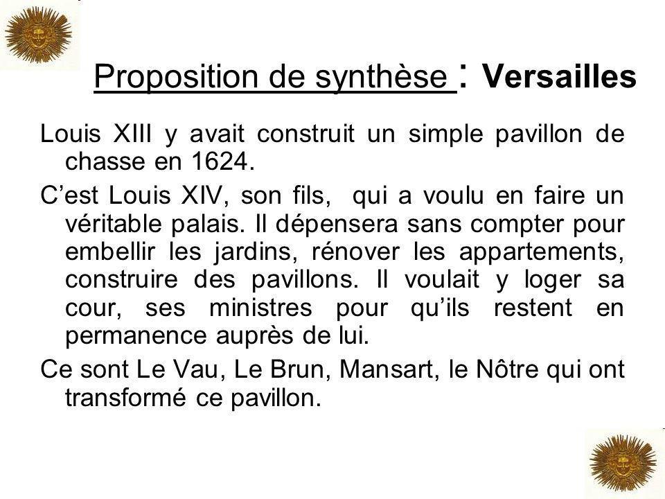 Proposition de synthèse : Versailles