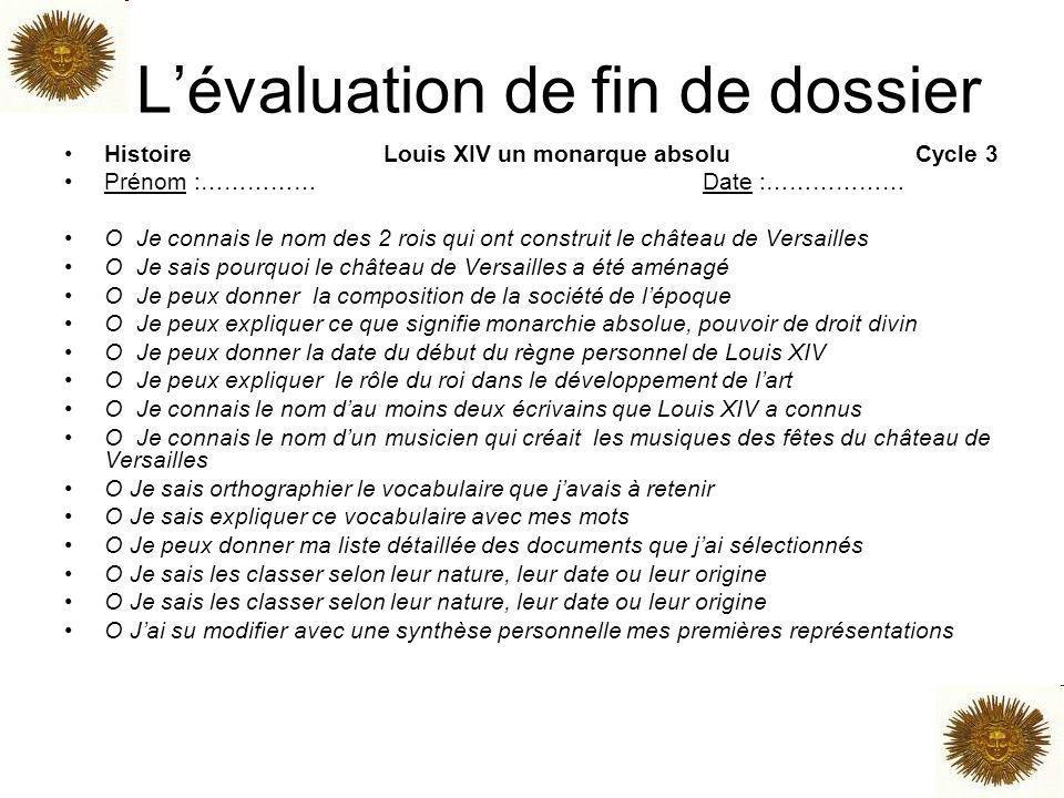 L'évaluation de fin de dossier