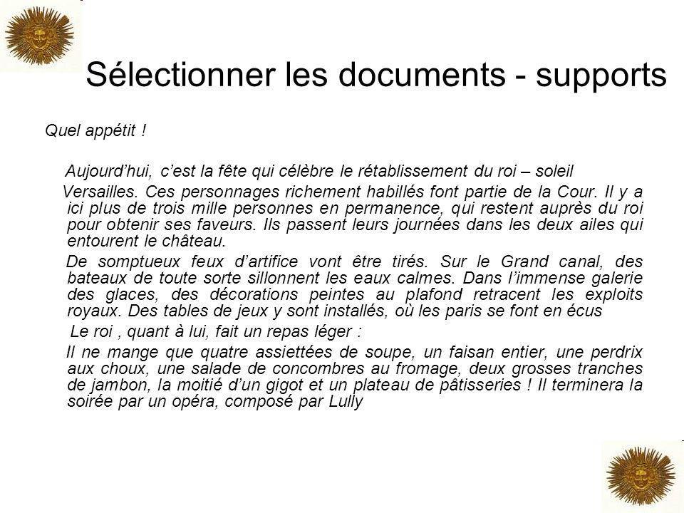 Sélectionner les documents - supports