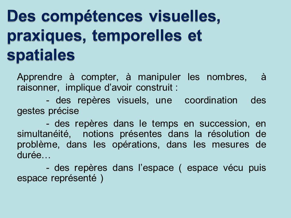 Des compétences visuelles, praxiques, temporelles et spatiales