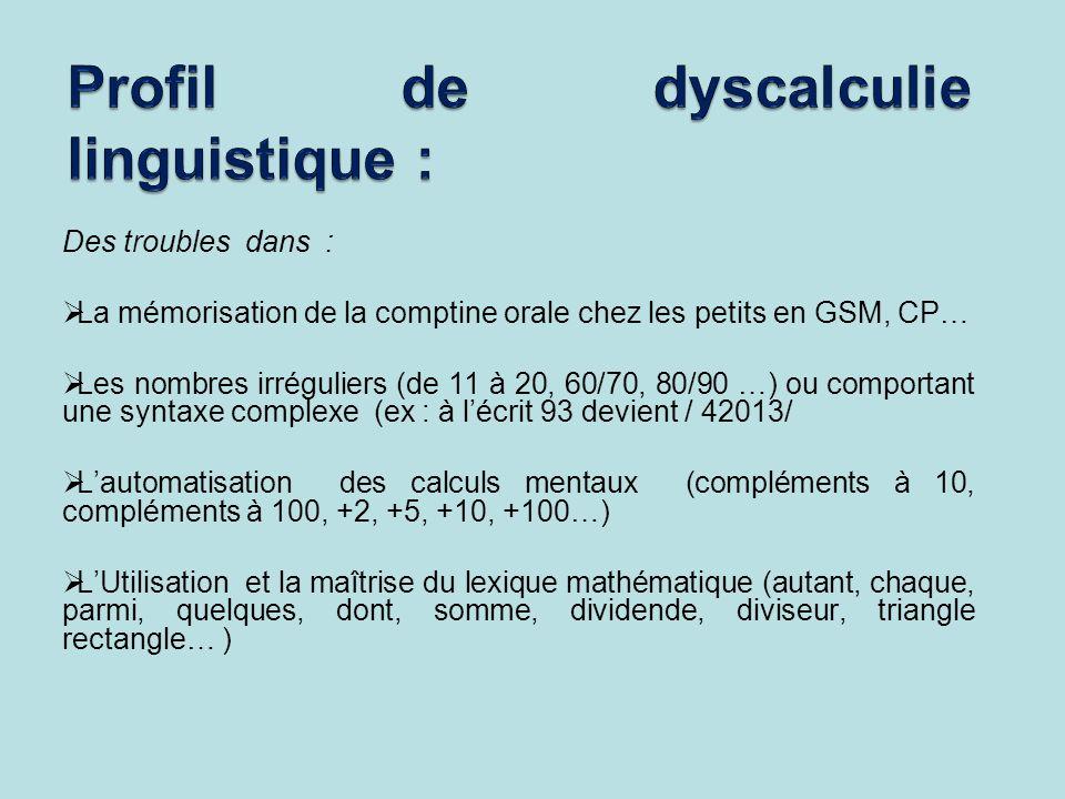 Profil de dyscalculie linguistique :