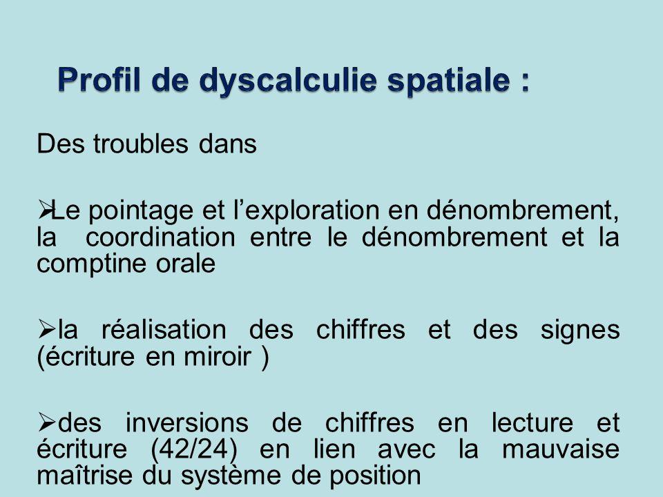 Profil de dyscalculie spatiale :