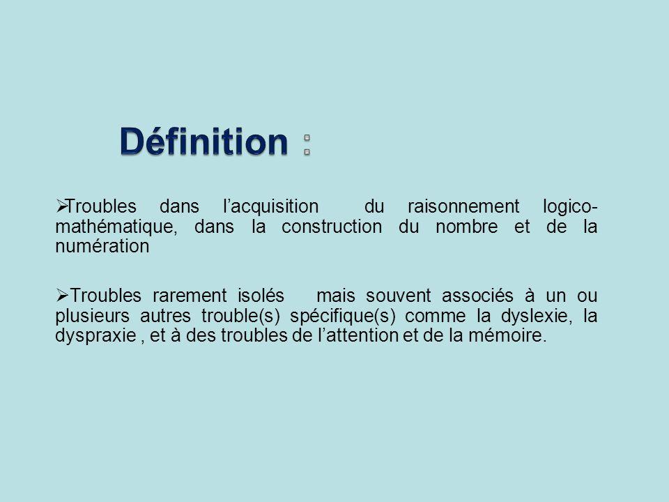 Définition :Troubles dans l'acquisition du raisonnement logico-mathématique, dans la construction du nombre et de la numération.