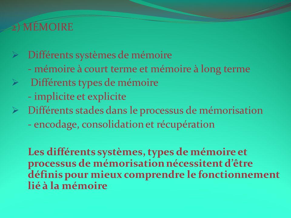 2) MÉMOIRE Différents systèmes de mémoire. - mémoire à court terme et mémoire à long terme. Différents types de mémoire.