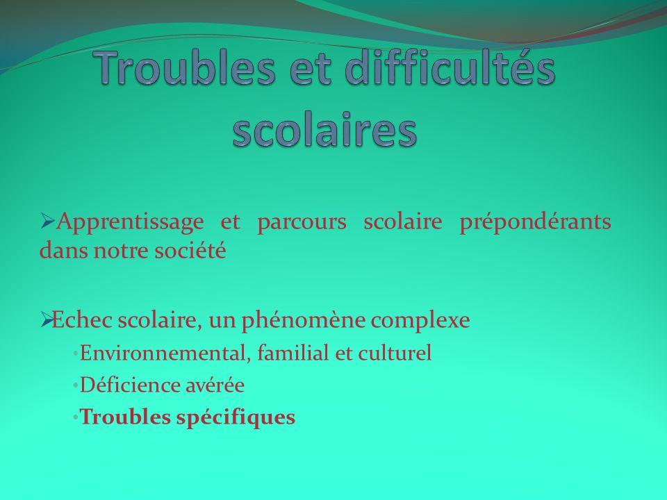 Troubles et difficultés scolaires