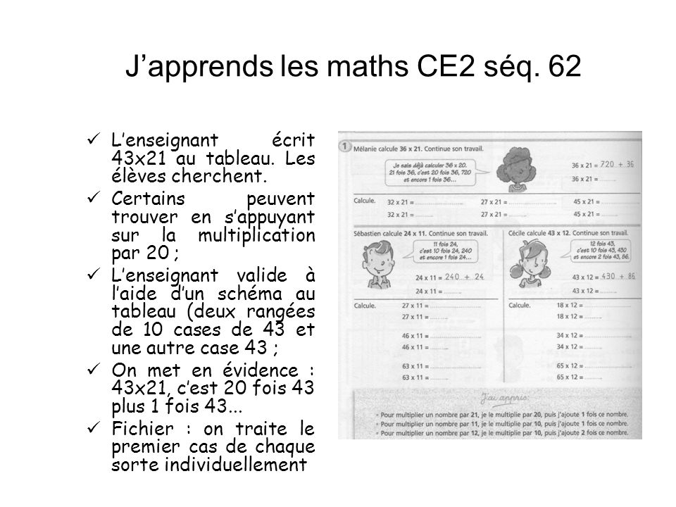 J'apprends les maths CE2 séq. 62