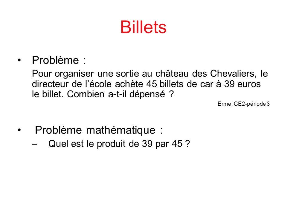 Billets Problème : Problème mathématique :