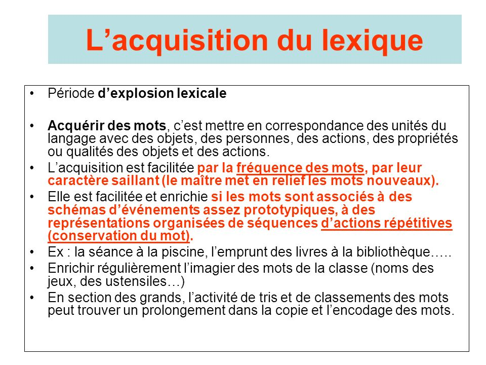 L'acquisition du lexique