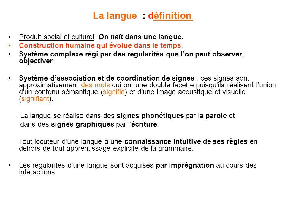 La langue : définition Produit social et culturel. On naît dans une langue. Construction humaine qui évolue dans le temps.
