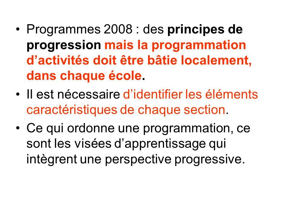 Programmes 2008 : des principes de progression mais la programmation d'activités doit être bâtie localement, dans chaque école.