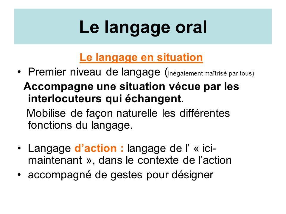 Le langage en situation