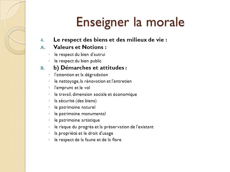 Enseigner la morale Le respect des biens et des milieux de vie :