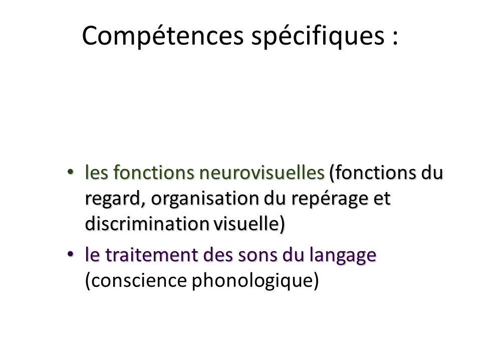 Compétences spécifiques :