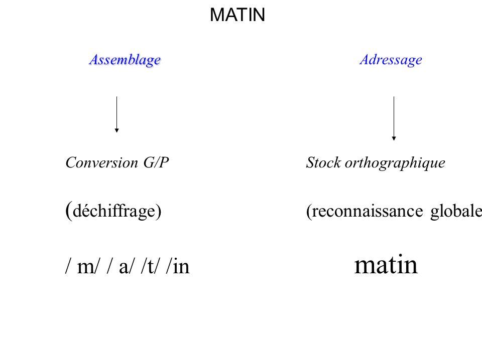 (déchiffrage) (reconnaissance globale) / m/ / a/ /t/ /in matin