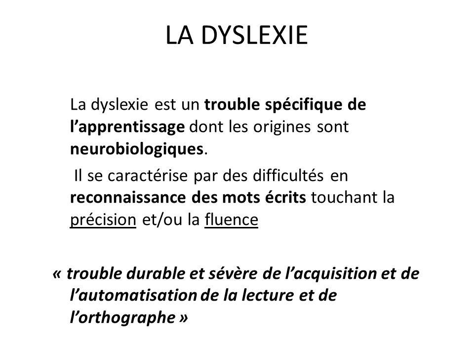 LA DYSLEXIE La dyslexie est un trouble spécifique de l'apprentissage dont les origines sont neurobiologiques.