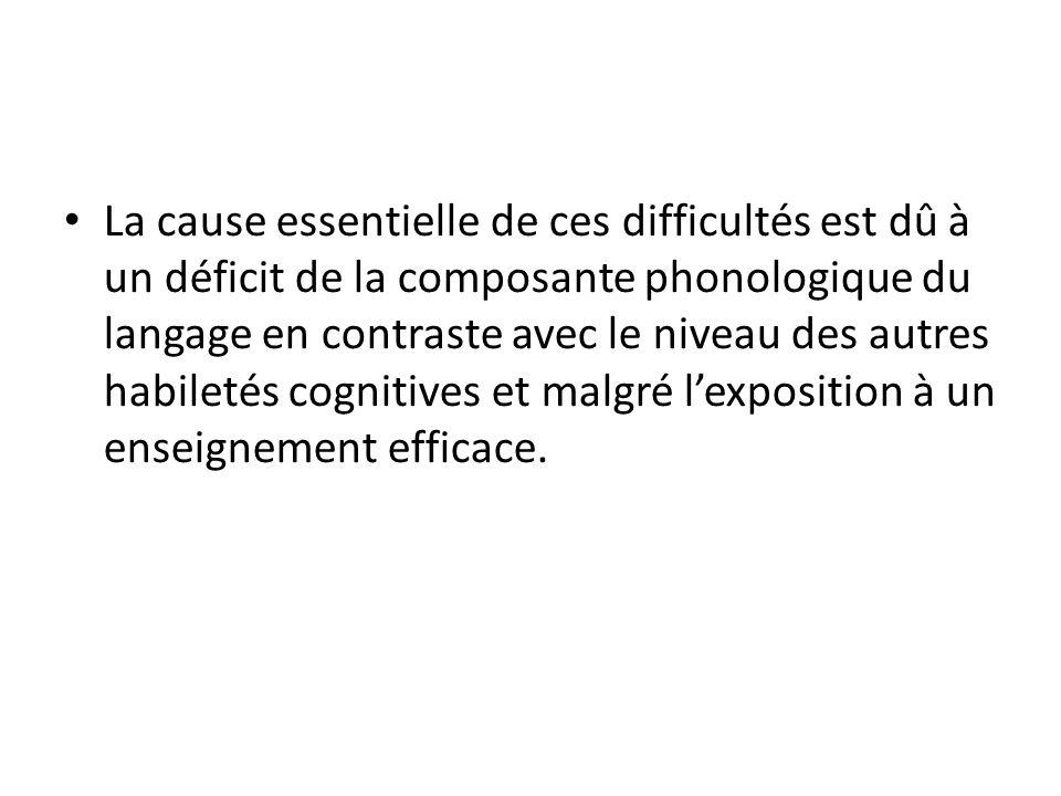 La cause essentielle de ces difficultés est dû à un déficit de la composante phonologique du langage en contraste avec le niveau des autres habiletés cognitives et malgré l'exposition à un enseignement efficace.