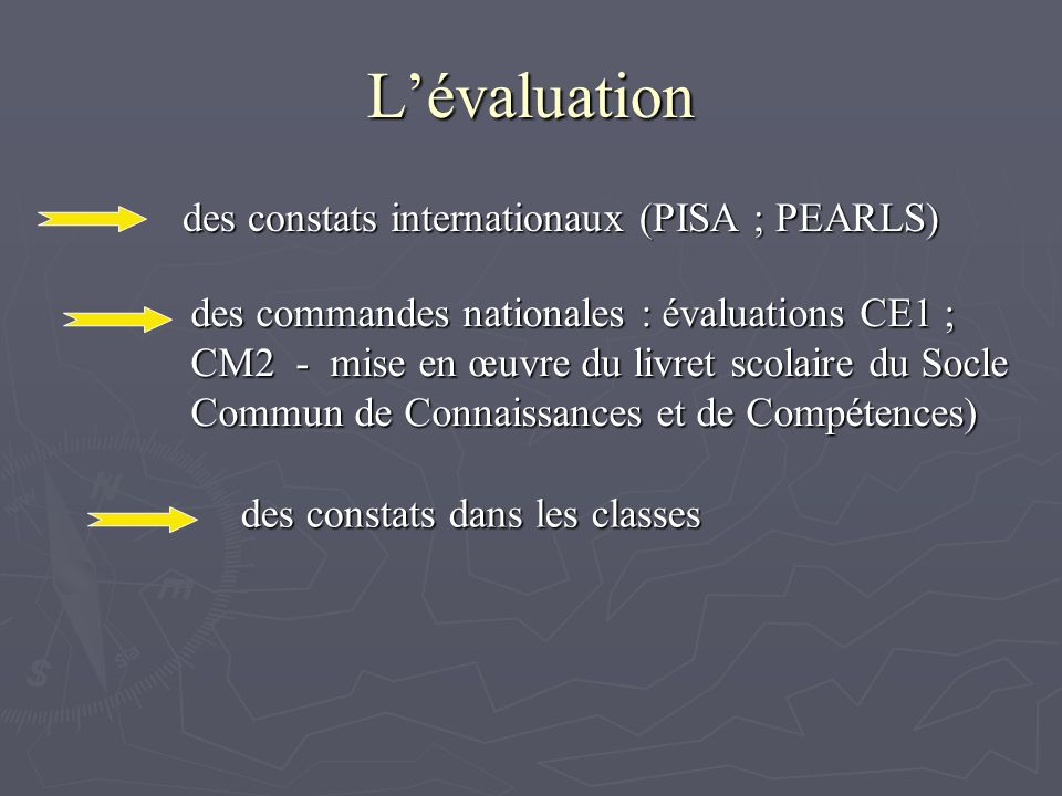 L'évaluation des constats internationaux (PISA ; PEARLS)