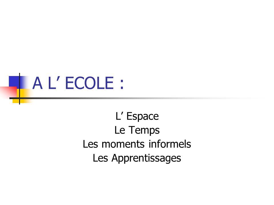 L' Espace Le Temps Les moments informels Les Apprentissages