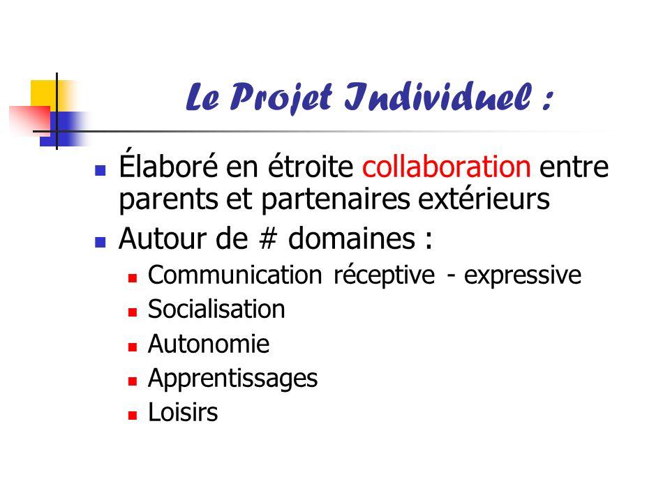 Le Projet Individuel : Élaboré en étroite collaboration entre parents et partenaires extérieurs. Autour de # domaines :