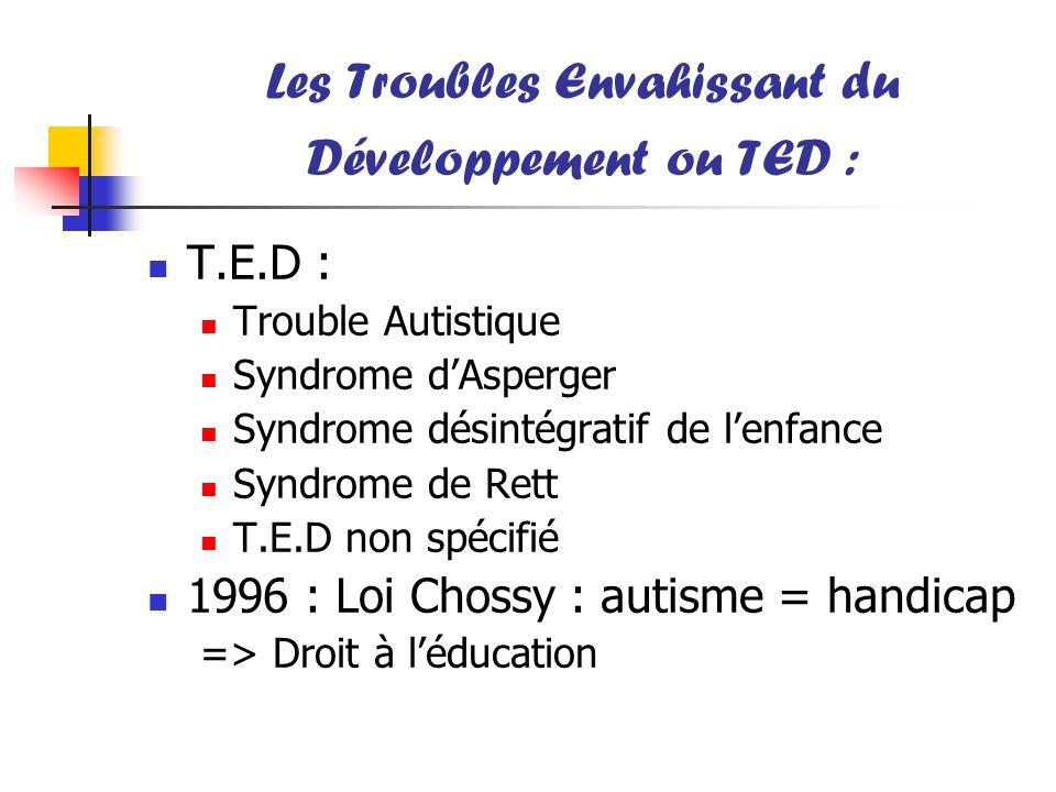 Les Troubles Envahissant du Développement ou TED :