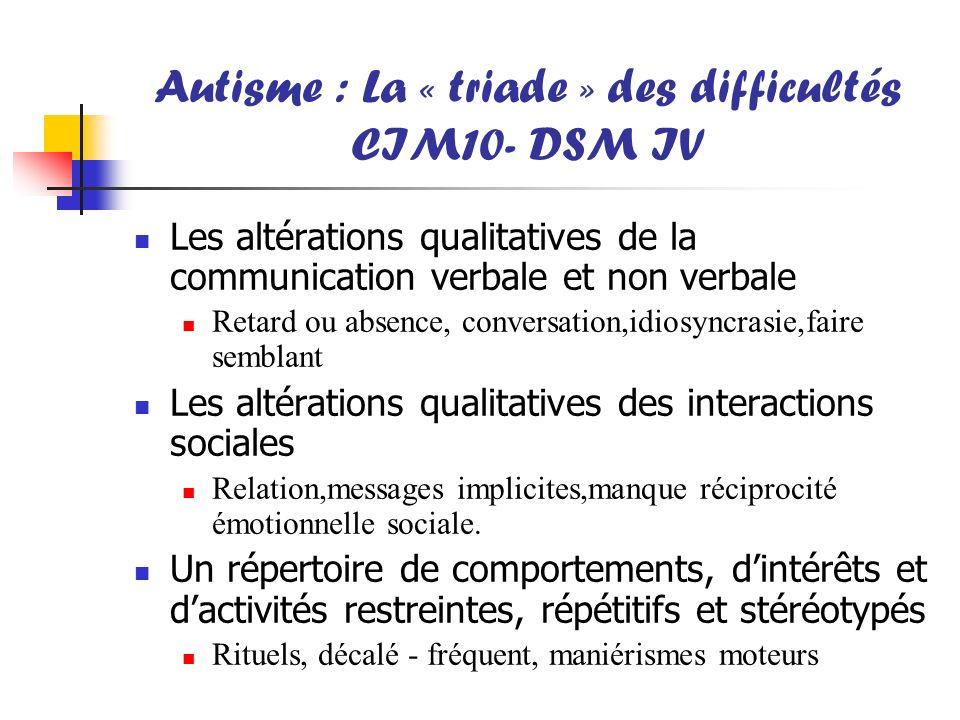 Autisme : La « triade » des difficultés CIM10- DSM IV