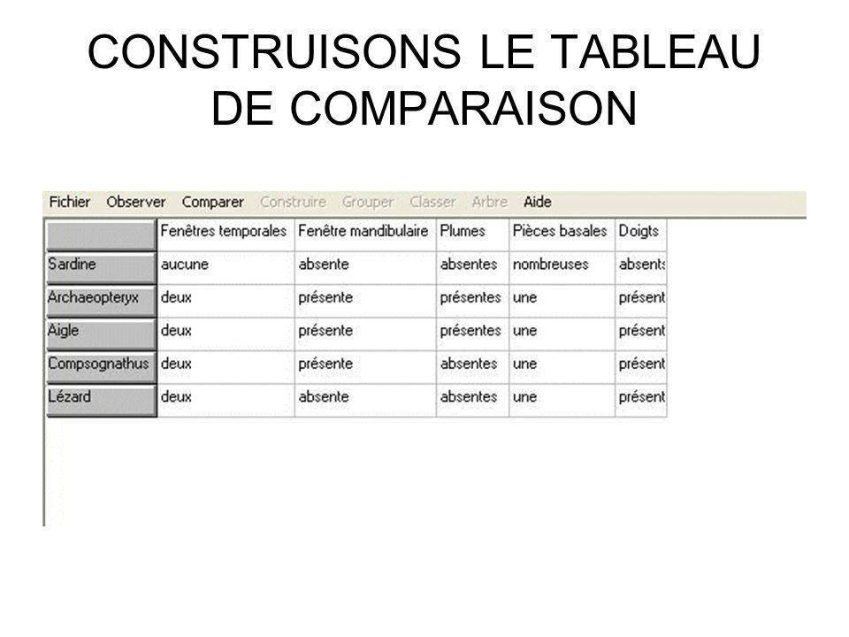 CONSTRUISONS LE TABLEAU DE COMPARAISON