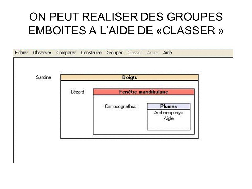 ON PEUT REALISER DES GROUPES EMBOITES A L'AIDE DE «CLASSER »