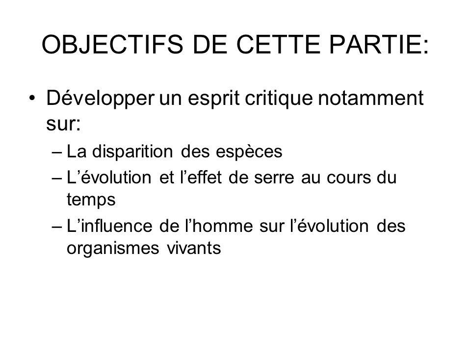 OBJECTIFS DE CETTE PARTIE: