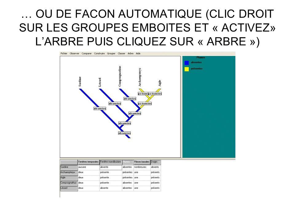 … OU DE FACON AUTOMATIQUE (CLIC DROIT SUR LES GROUPES EMBOITES ET « ACTIVEZ» L'ARBRE PUIS CLIQUEZ SUR « ARBRE »)