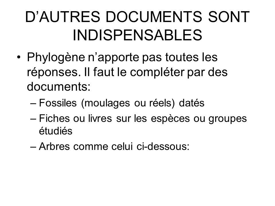 D'AUTRES DOCUMENTS SONT INDISPENSABLES